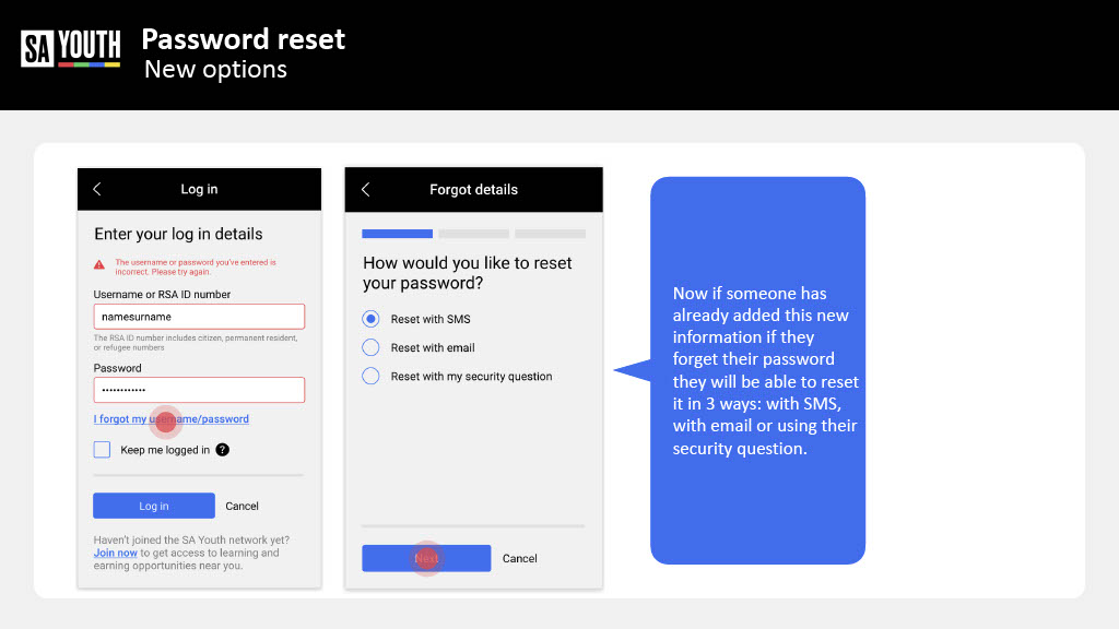 Resetting your own Password on Sayouth Mobi Site